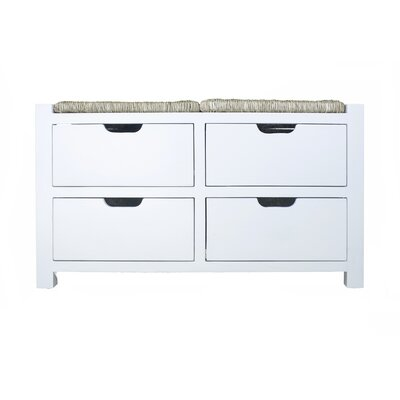 """Gearhart Wood Storage Bench Size: 20"""" H x 32"""" W x 15"""" D, Color: White Natural Sea Grass"""
