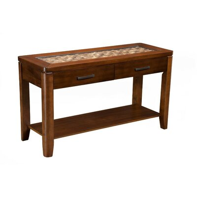 Strauch Glass Insert Top Console Table with Drawers