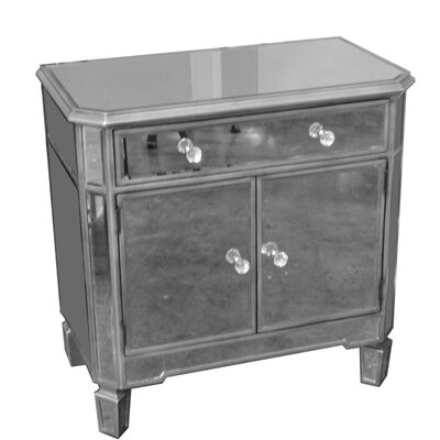 Fausley Wood and Glass 2 Door Accent Cabinet