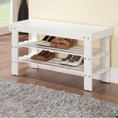 Perez Wood Storage Bench Color: White