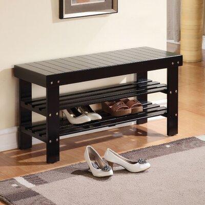 Perez Wood Storage Bench Color: Black