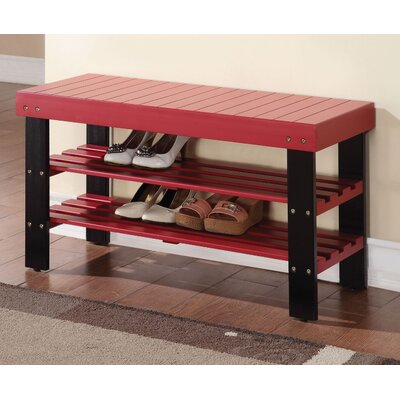 Perez Wood Storage Bench Color: Red/Black