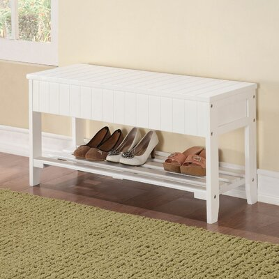 Pericles Wood Storage Bench Color: White