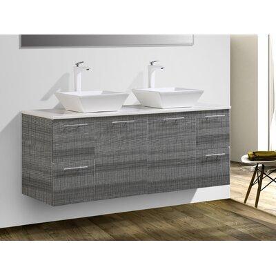"Stinnett 60"" Wall Mounted Double Bathroom Vanity Set"