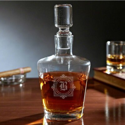 Baumann Monogram Bryant Liquor 36 oz. Decanter Letter: S