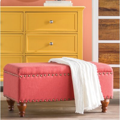 Oakford Upholstered Storage Bench Upholstery: Red