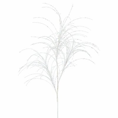 Glitter Grass Artificial Christmas Branch Leaves Color: White