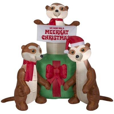Meercats and Gift Scene Christmas Oversized Figurine