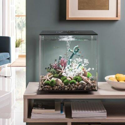 """LED Aquarium Tank Size: 17"""" H x 15.7"""" W x 15.7"""" D, Color/Finish: Black"""