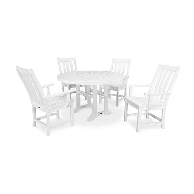 Vineyard Nautical Trestle 5 Piece Dining Set Color: White