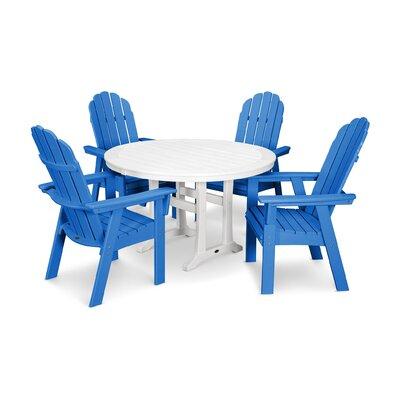 Vineyard Adirondack Nautical Trestle 5 Piece Dining Set Color: Pacific Blue/White