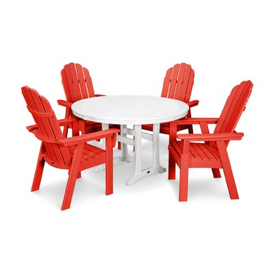 Vineyard Adirondack Nautical Trestle 5 Piece Dining Set Color: Sunset Red/White
