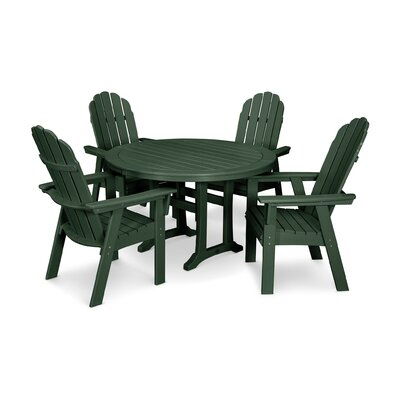 Vineyard Adirondack Nautical Trestle 5 Piece Dining Set Color: Green
