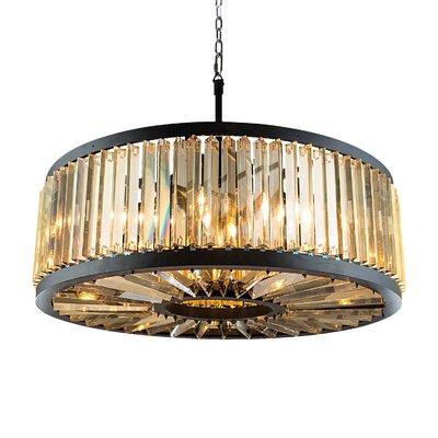"Herkimer 10-Light Drum Chandelier Finish/Shade Color: Gray/Golden Teak, Size: 75.5"" H x 43.5"" W x 43.5"" D, Bulb Type: Incandescent"