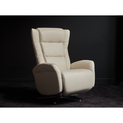 Litzy Leather Manual Swivel Recliner Upholstery Color: White