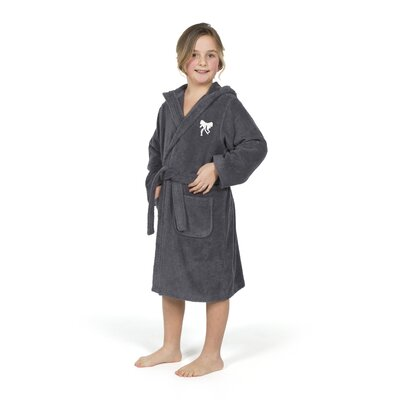 Ashby Hooded Bow Design Terry Bathrobe Size: Large, Color: Gray/White