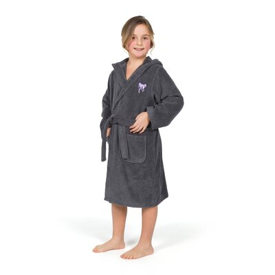 Ashby Hooded Bow Design Terry Bathrobe Size: Large, Color: Gray/Purple
