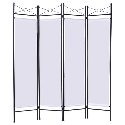 Petrone 4 Panel Room Divider Color: White