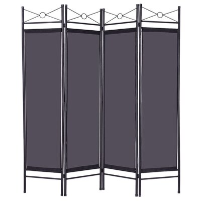 Petrone 4 Panel Room Divider Color: Black