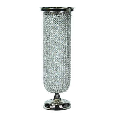 """Lovins Aluminum Pedestal Plant Stand with Crystals Size: 30"""" H x 8"""" W x 8.5"""" D"""