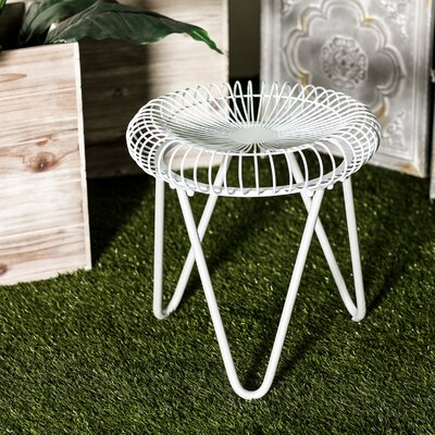 Gilpin Contemporary Round Iron Garden Stool