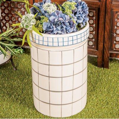 Palko Modern Cylindrical Ceramic Garden Stool Color: White/Gray
