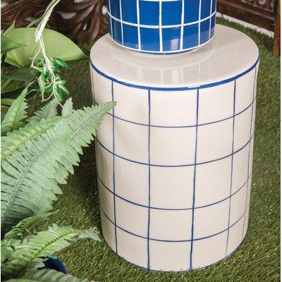 Palko Modern Cylindrical Ceramic Garden Stool Color: White/Blue