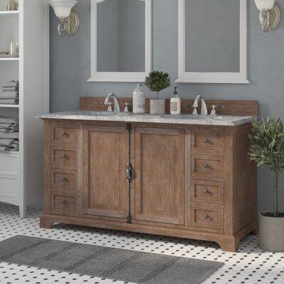 "Belhaven 60"" Double Driftwood Bathroom Vanity Set Top Finish: Carrera White Marble Top"