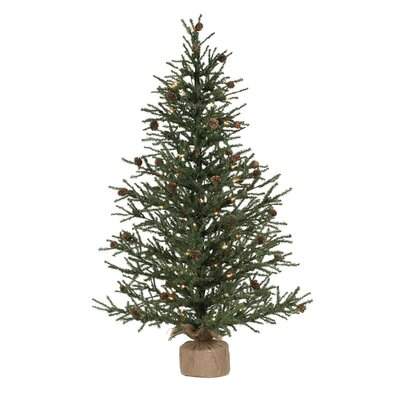 Carmel 3.5' Green Pine Artificial Christmas Tree with 70 Clear/White Lights with Stand