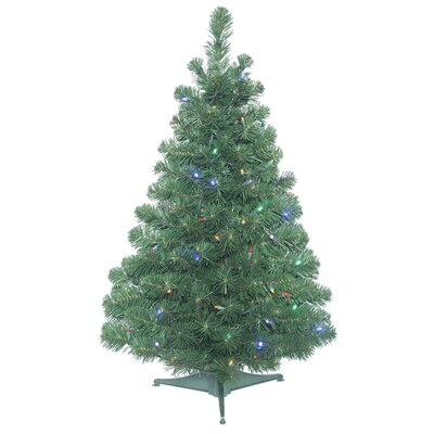Oregon 3' Green Fir Artificial Christmas Tree with 100 Clear/White Lights with Stand