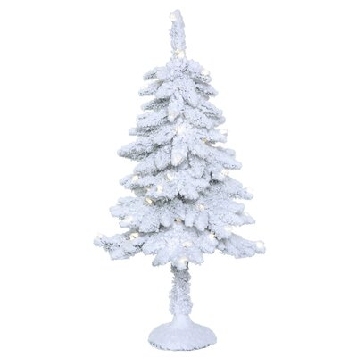 3' Flocked Snowy Pine Artificial Christmas Tree with 50 LED Clear/White Lights with Stand