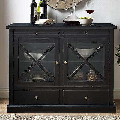 Saito 2 Door Accent Cabinet Color: Black