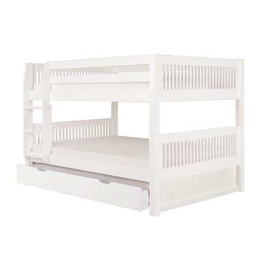 Gidley Full Over Full Bunk Bed with Trundle Bed Frame Color: White