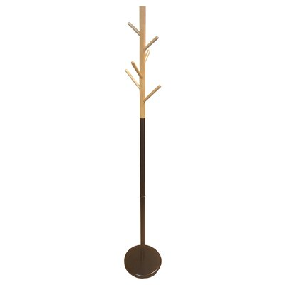 Standing Hall Tree Entryway Coat Rack Color: Black/Natural