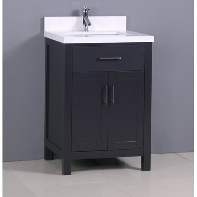 "Flannery 24"" Single Bathroom Vanity Set Base Finish: Black, Top Finish: Snow White Quartz"