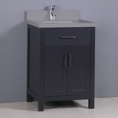 "Flannery 24"" Single Bathroom Vanity Set Base Finish: Black, Top Finish: Calypso Quartz"