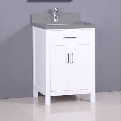 "Flannery 24"" Single Bathroom Vanity Set Top Finish: Calypso Quartz, Base Finish: White"