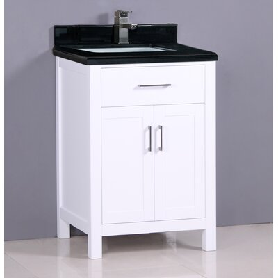 "Flannery 24"" Single Bathroom Vanity Set Top Finish: Shanxi Black Granite, Base Finish: White"