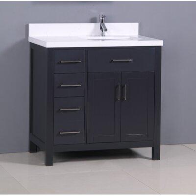 "Flannery 36"" Single Bathroom Vanity Set Top Finish: Snow White Quartz, Base Finish: Black"
