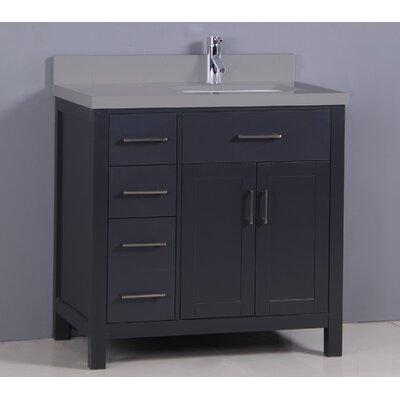 "Flannery 36"" Single Bathroom Vanity Set Top Finish: Calypso Quartz, Base Finish: Black"