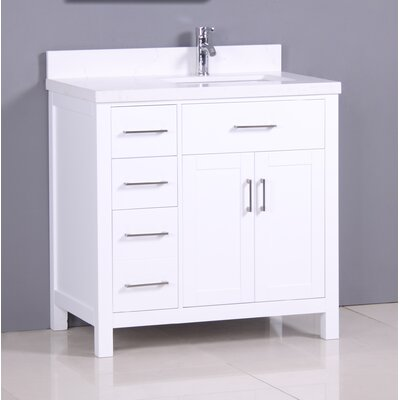 "Flannery 36"" Single Bathroom Vanity Set Top Finish: Snow White Quartz, Base Finish: White"