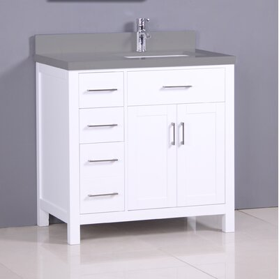 "Flannery 36"" Single Bathroom Vanity Set Top Finish: Calypso Quartz, Base Finish: White"