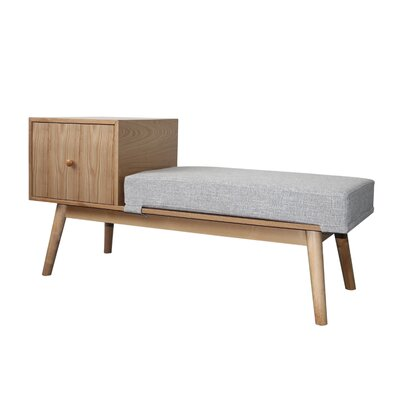 Lynnfield Wood Storage Bench Upholstery: Cement Heathered Tweed