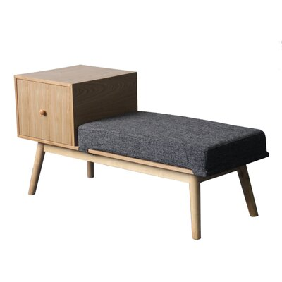Lynnfield Wood Storage Bench Upholstery: Dark Grey Tweed