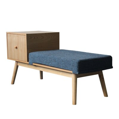 Lynnfield Wood Storage Bench Upholstery: Indigo Weave