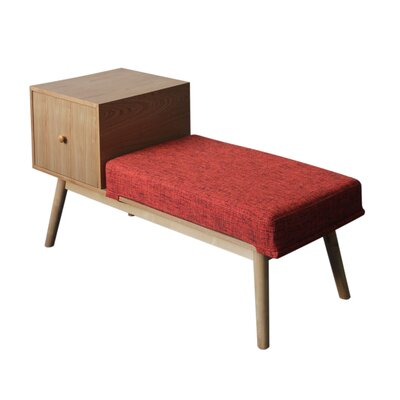 Lynnfield Wood Storage Bench Upholstery: Red Heathered Tweed