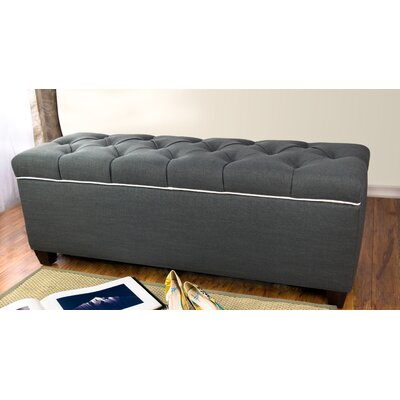 Erik Wood Storage Bench Upholstery: Charcoal/Magnolia