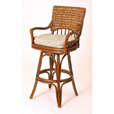 "Pringle 30"" Swivel Bar Stool Upholstery: Palms Pineapple, Color: Sienna"