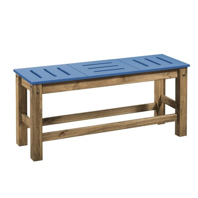 Wiggin Wood Bench Color: Blue/Natural Wood