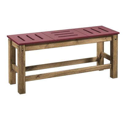 Wiggin Wood Bench Color: Red/Natural Wood